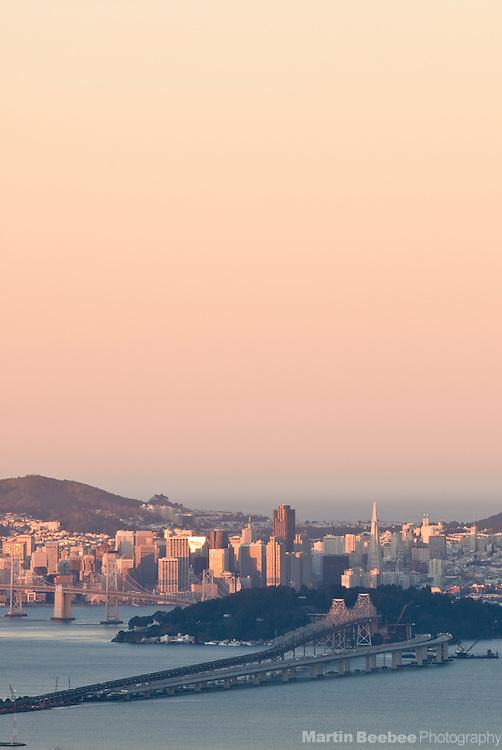 San Francisco and the Bay Bridge at sunrise, California