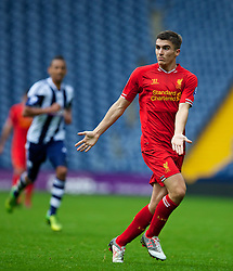 WEST BROMWICH, ENGLAND - Sunday, October 20, 2013: Liverpool's Adam Morgan in action against West Bromwich Albion during the Under 21 FA Premier League match at the Hawthorns. (Pic by David Rawcliffe/Propaganda)