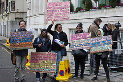 London, UK. 16 November, 2019. Freedom of movement activists from Movement for Justice stand outside Labour's Clause V meeting. The Clause V meeting, chaired by the party leader and attended by members of the National Executive Committee (NEC), relevant Shadow Cabinet members and members of the National Policy Forum, will finalise the party's general election manifesto. The meeting is named after Clause V of the Labour Party rulebook.