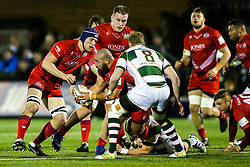 James Lay of Bristol Rugby is challenged by Mark Bright (capt) of Ealing Trailfinders - Rogan/JMP - 10/02/2018 - RUGBY UNION - Trailfinders Sports Ground - Ealing Trailfinders v Bristol Rugby - Greene King IPA Championship.
