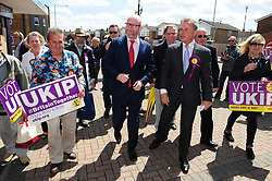 &copy; Licensed to London News Pictures. 07/06/2017<br /> Paul Nuttall on walk about with PETER WHITTLE UKIP Candidate for South Basildon and East Thurrock.<br /> UKIP Leader Paul Nuttall in Corrington,Essex this afternoon on a walkabout on the last day of the election campaign for 2017.<br /> Photo credit: Grant Falvey/LNP