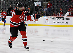 Feb 5, 2010; Newark, NJ, USA; New Jersey Devils left wing Ilya Kovalchuk (17) skates during the warmups before the Devils game against the Toronto Maple Leafs at the Prudential Center. Kovalchuk was traded to the Devils yesterday.