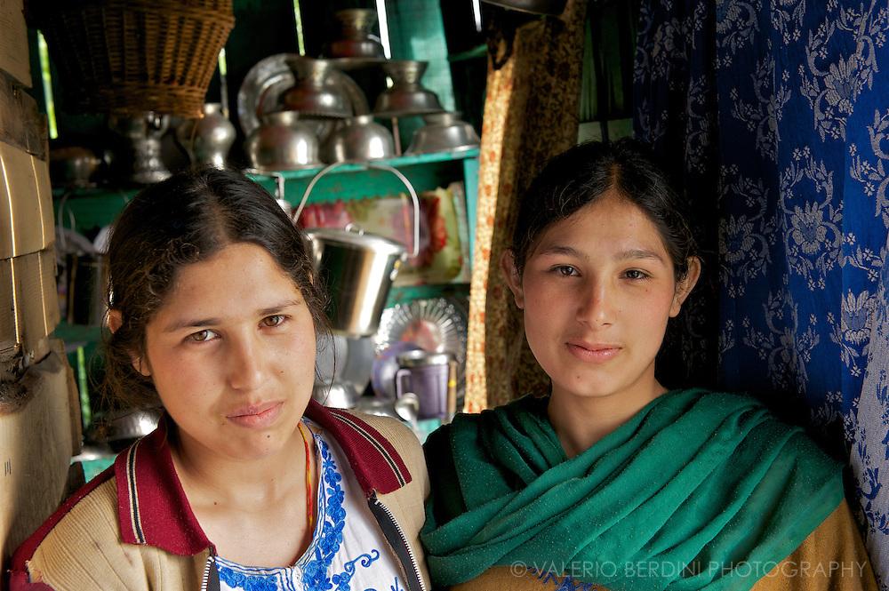 Two sisters show around their place. Dal Lake. Srinagar. Kashmir. India