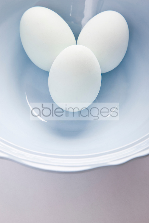 Light Blue Eggs in a Bowl - High angle view