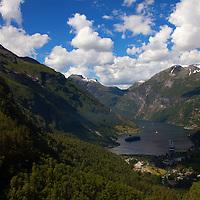 Europe, Norway, Geiranger. View of Geiranger Fjord.