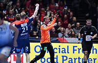 MEN'S EHF EURO 2020<br /> Portugal - Norway 12 jan 2020<br /> Trondheim Spektrum<br /> Trondheim, Norway<br /> <br /> Kristian Sæverås jubler etter en redning<br /> <br /> <br /> <br /> <br /> Foto : Arve Johnsen, Digitalsport