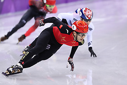 PYEONGCHANG, Feb. 22, 2018  Wu Dajing (front) of China competes during men's 500m final of short track speed skating at the 2018 PyeongChang Winter Olympic Games at Gangneung Ice Arena, Gangneung, South Korea, Feb. 22, 2018. Wu Dajing claimed gold medal in a time of 0:39.584 and set new world record. (Credit Image: © Han Yan/Xinhua via ZUMA Wire)