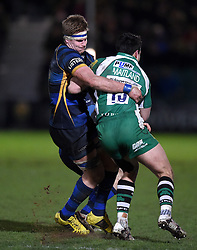 Worcester Warriors Number 8 GJ van Velze (C) tackles London Irish full back, Sean Maitland   - Mandatory by-line: Joe Meredith/JMP - 26/03/2016 - RUGBY - Sixways Stadium - Worcester, England - Worcester Warriors v London Irish - Aviva Premiership