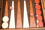 Backgammon board game dice show 6:6