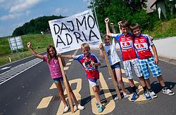 Supporters of KK Adria Mobil near Novo mesto during Stage 4 from Brezice to Novo mesto (155,8 km) of cycling race 20th Tour de Slovenie 2013,  on June 16, 2013 in Slovenia. (Photo By Vid Ponikvar / Sportida)