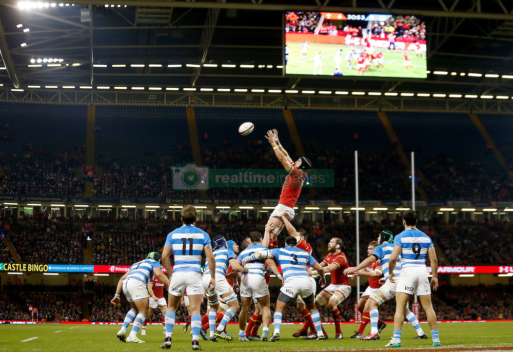 Wales' Luke Charteris wins a lineout during the Autumn International match at the Principality Stadium, Cardiff.