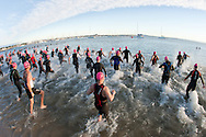 Swim Start.Geelong Olympic Distance Triathlon.Age Group Event.2011 Geelong Multi-Sport Festival.Eastern Beach, Geelong, Victoria, Australia.20/02/11.Photo By Lucas Wroe