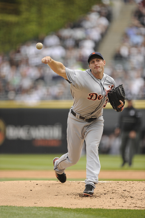 CHICAGO - APRIL 13:  Max Scherzer #37 of the Detroit Tigers pitches against the Chicago White Sox on April 13, 2012 bats U.S. Cellular Field in Chicago, Illinois.  The White Sox defeated the Tigers 5-2.  (Photo by Ron Vesely)   Subject:  Max Scherzer
