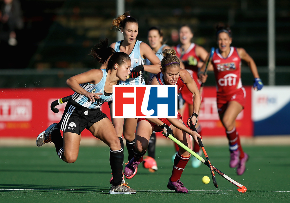 JOHANNESBURG, SOUTH AFRICA - JULY 14: Katelyn Ginolfi of the United States and Lucina von der Heyde of Argentina battle for possession during day 4 of the FIH Hockey World League Semi Finals Pool B match between the United States and Argentina at Wits University on July 14, 2017 in Johannesburg, South Africa. (Photo by Jan Kruger/Getty Images for FIH)