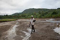 Josef Pierre crosses the Cormier river, which flooded much of the community during Hurricane Sandy, destroying large swaths of crops. Hurricane Sandy brought heavy flooding to the region , destroyed crops and livestock and will seriously hinder farmers' abilities to grow food in the future.