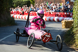 Cookham Dean, UK. 1 September, 2019. A custom-built kart competes in the Cookham Dean Gravity Grand Prix in aid of the Thames Valley and Chiltern Air Ambulance.