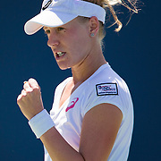 August 19, 2014, New Haven, CT:<br /> Alison Riske reacts during a match against Flavia Pennetta on day five of the 2014 Connecticut Open at the Yale University Tennis Center in New Haven, Connecticut Tuesday, August 19, 2014.<br /> (Photo by Billie Weiss/Connecticut Open)