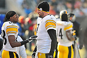 Jan. 2, 2011; Cleveland, OH, USA; Pittsburgh Steelers wide receiver Emmanuel Sanders (88) talks with quarterback Ben Roethlisberger (7) during the second quarter against the Cleveland Browns at Cleveland Browns Stadium. The Steelers beat the Browns 41-9. Mandatory Credit: Jason Miller-US PRESSWIRE