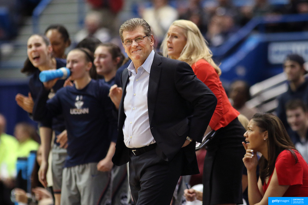 HARTFORD, CONNECTICUT- JANUARY 10 Head coach Geno Auriemma of the Connecticut Huskies on the sideline during the the UConn Huskies Vs USF Bulls, NCAA Women's Basketball game on January 10th, 2017 at the XL Center, Hartford, Connecticut. (Photo by Tim Clayton/Corbis via Getty Images)