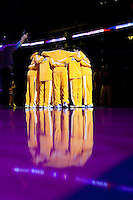 06 November 2009: The Los Angeles Lakers huddle up during player introductions before the Lakers 114-98 victory over the Memphis Grizzles at the STAPLES Center in Los Angeles, CA.