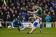 a shot at goal by Scunthorpe United Midfielder, Sam Mantom (17) during the EFL Sky Bet League 1 match between Bristol Rovers and Scunthorpe United at the Memorial Stadium, Bristol, England on 25 February 2017. Photo by Adam Rivers.