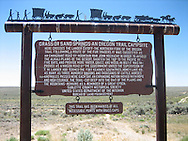 Lander Cut-Off Historic Marker on the Oregon Trail in Wyoming.
