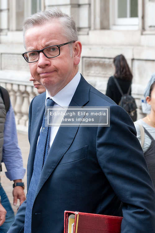 Michael Gove, Chancellor of the Duchy of Lancaster leaves the Cabinet Office after meetings<br /> <br /> Richard Hancox | EEm 12082019