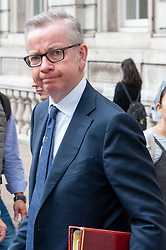 Michael Gove, Chancellor of the Duchy of Lancaster leaves the Cabinet Office after meetings<br /> <br /> Richard Hancox   EEm 12082019