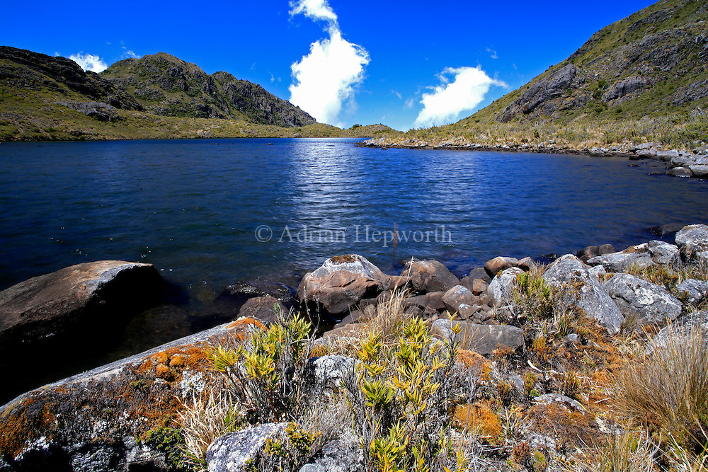 Lake Chirripo near the summit of Mount Chirripo, Costa Ricas highest mountain  3820m. Chirripo National Park, Costa Rica.<br />