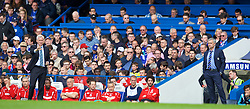 LONDON, ENGLAND - Sunday, May 3, 2015: Crystal Palace's manager Alan Pardew and Chelsea's manager Jose Mourinho during the Premier League match at Stamford Bridge. (Pic by David Rawcliffe/Propaganda)