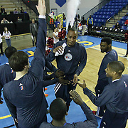 Delaware 87ers Guard Lorenzo Brown (17) celebrates with his teammates during player introduction prior to a NBA D-league regular season basketball game between the Delaware 87ers (76ers) and the Austin Toros (Spurs) Monday, Jan. 27, 2014 at The Bob Carpenter Sports Convocation Center, Newark, DE