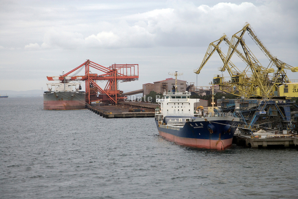 commercial cargo ships docked in Tokyo harbor