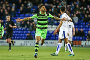 Forest Green Rovers Kaiyne Woolery(14) scores a goal 0-1 and celebrates during the Vanarama National League match between Tranmere Rovers and Forest Green Rovers at Prenton Park, Birkenhead, England on 11 April 2017. Photo by Shane Healey.