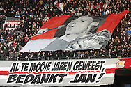 Onderwerp/Subject: Eredivisie<br /> Reklame:  <br /> Club/Team/Country: <br /> Seizoen/Season: 2012/2013<br /> FOTO/PHOTO: Supporters of Ajax with banner for former player Jan VERTONGHEN (NOT ON PHOTO). (Photo by PICS UNITED)<br /> <br /> Trefwoorden/Keywords: <br /> #11 $94 ±1355239233217 ±1355239233217<br /> Photo- & Copyrights © PICS UNITED <br /> P.O. Box 7164 - 5605 BE  EINDHOVEN (THE NETHERLANDS) <br /> Phone +31 (0)40 296 28 00 <br /> Fax +31 (0) 40 248 47 43 <br /> http://www.pics-united.com <br /> e-mail : sales@pics-united.com (If you would like to raise any issues regarding any aspects of products / service of PICS UNITED) or <br /> e-mail : sales@pics-united.com   <br /> <br /> ATTENTIE: <br /> Publicatie ook bij aanbieding door derden is slechts toegestaan na verkregen toestemming van Pics United. <br /> VOLLEDIGE NAAMSVERMELDING IS VERPLICHT! (© PICS UNITED/Naam Fotograaf, zie veld 4 van de bestandsinfo 'credits') <br /> ATTENTION:  <br /> © Pics United. Reproduction/publication of this photo by any parties is only permitted after authorisation is sought and obtained from  PICS UNITED- THE NETHERLANDS