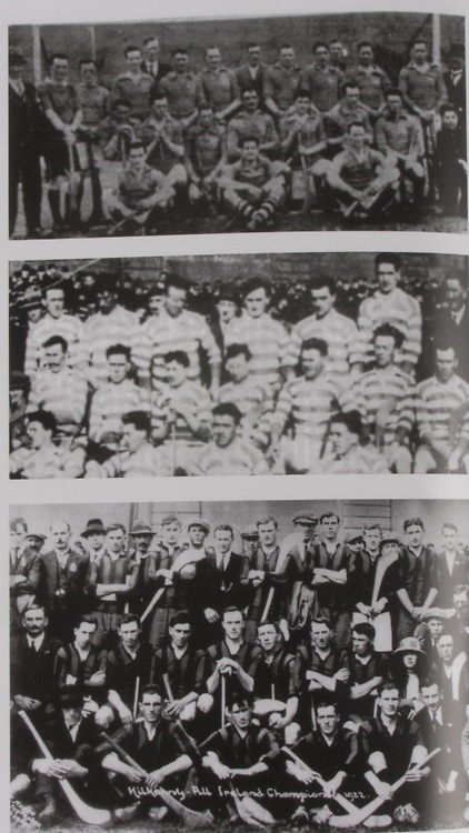 top: Dublin (Faughs)-All-Ireland Hurling Champions 1920. Back Row: Bob Mockler (capt), M Hayes, M Neville, T Moore, T Hayes, J Cleary, E Tobin, R Doherty, James Walsh, T Daly (goal), F Burke, J J Callinan, Joe Phelan, John Ryan, J Clune. Officials (on left), Tim Gleeson (Chairman of Faughs). .middle: Limerick -All-Ireland Hurling Champions 1921. Back Row: W Ryan, D Murnane, D Lanigan, W Hough, W Hurley, M Murphy, W P Clifford, Middle Row: M Mullane, T Managan, R McConkey(capt), J Humphreys, J Keane, G Howard, T McGrath. Front Row: P McInerney, C Ryan, W Gleeson, J O'Callaghan. .bottom: Kilkenny-All-Ireland Hurling Champions 1922. Back Row: Peter Dunne (Mascot-arms corssed), Bill Walton (manager), Ballyfrunk Creamery (with cap), Jack Rochford (Trainer), Mick Heffernan (with hat), players only, Tom Tierney, Bill Brennan, Ned Purcell (Official), Eddie Dunphy, Dick Grace, Matty Power, Bill Kenny, Mick Brennan (no jersey). Middle Row: Paddy Patterson (with hat), Sean Gibbons, Martin Lalor, Jimmy Tobin, Paddy Donoghue, Wattie Dunphy (capt), Mark McDonald, Jack Holohan, Paddy Glenson, Miss Gorey, Tim Scott, Mick Dalton (with cap standing). Front Row: Martin Egan (with hat), Tommy Carroll, Dick Tobin, John Roberts, Pat Ayleward, Mickey Whelan.