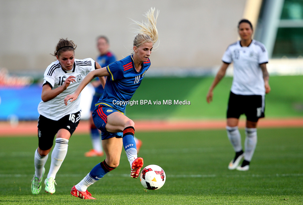 Fifa Womans World Cup Canada 2015 - Preview //<br /> Algarve Cup 2015 Tournament ( Vila Real San Antonio Sport Complex - Portugal ) - <br /> Germany vs Sweden 2-4   -  Sofia Jakobsson of Sweden (R) challenges with Melanie Leupolz of Germany (L)