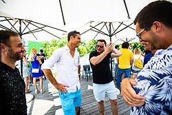 Gregor Krusic  and Aljaz Kos with Rado Mulej during ATP Press conference with Aljaz Bedene, on July 25th, 2019, in Ljubljansko kopalisce Kolezija, Ljubljana, Slovenia. Photo by Grega Valancic / Sportida