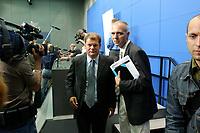 """20 AUG 2003, BERLIN/GERMANY:<br /> Olaf Scholz (L), SPD, Generalsekretaer, und Bernd Neuendorf (R), SPD Pressesprecher, nach der Vorstellung von G regor G ysis Buch """"Was nun? Ueber den Deutschlands Zusatnd und meinen eigenen"""", Bundespresseamt<br /> IMAGE: 20030820-01-025<br /> KEYWORDS: Generalsekretär, Buchvorstellung, Kamera, Camera, Journalist, Journalisten"""