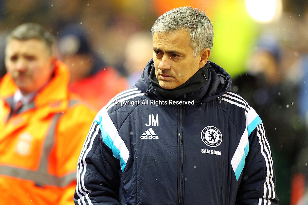 20.01.2015.  Anfield, Liverpool, England. Capital One Cup Semi Final. Liverpool versus Chelsea. Chelsea manager Jose Mourinho