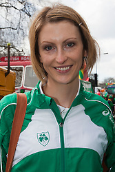 © Licensed to London News Pictures. 18/03/2012. London, England. Irish High-Jumper Deirdre Ryan. London celebrates St. Patrick's Day with a parade and festival. Photo credit: Bettina Strenske/LNP