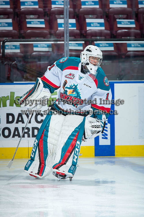 KELOWNA, CANADA - DECEMBER 27: James Porter #1 of the Kelowna Rockets warms up against the Kamloops Blazers on December 27, 2017 at Prospera Place in Kelowna, British Columbia, Canada.  (Photo by Marissa Baecker/Shoot the Breeze)  *** Local Caption ***