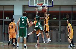 Vincent Leron Hunter II of Zlatorog vs Miha Markic of Koper at 12th Round of UPC League basketball match between KK Luka Koper and KK Zlatorog Lasko, on May 2, 2009, in Arena Bonifika, Koper, Slovenia. Zlatorog won the match 72:71. (Photo by Vid Ponikvar / Sportida)