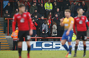 Morecambe fans during the EFL Sky Bet League 2 match between Morecambe and Mansfield Town at the Globe Arena, Morecambe, England on 27 January 2018. Photo by Paul Thompson.
