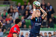 MELBOURNE, AUSTRALIA - APRIL 06: Billy Meakes of the Rebels intercepts the ball at round 8 of The Super Rugby match between Melbourne Rebels and Sunwolves on April 06, 2019 at AAMI Park in VIC, Australia. (Photo by Speed Media/Icon Sportswire)