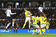 Derby County's Fikayo Tomori (5) and Derby County defender Richard Keogh (6) rise highest but can't produce a goal during the EFL Sky Bet Championship match between Derby County and Blackburn Rovers at the Pride Park, Derby, England on 18 September 2018.