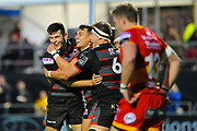 Edinburgh's Kinghorn Blair is congratulated by team mates after scoring try during the Guinness Pro 14 2017_18 match between Edinburgh Rugby and Dragons Rugby at Myreside Stadium, Edinburgh, Scotland on 8 September 2017. Photo by Kevin Murray.