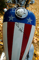Legendary Harley Davidson rider Peter fonda signed this Harley davidson Thursday Aug. 28, 2003 Milwaukee. Thousands of Harley Davidson bikers from all over the world came to Wisconsin to help celebrate Harley Davidson 100th anniversary.   photo by Darren Hauck