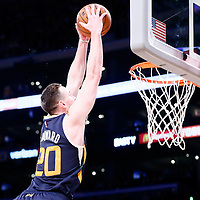 05 December 2016: Utah Jazz forward Gordon Hayward (20) goes for the dunk during the Utah Jazz 107-101 victory over the Los Angeles Lakers, at the Staples Center, Los Angeles, California, USA.