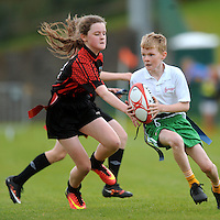 13 Aug 2016:  Monaghan Town/Ulster, right, on the attack against Ballymote Sligo/Connaught. Tag Rugby U14 semi-final. 2016 Community Games National Festival 2016.  Athlone Institute of Technology, Athlone, Co. Westmeath. Picture: Caroline Quinn