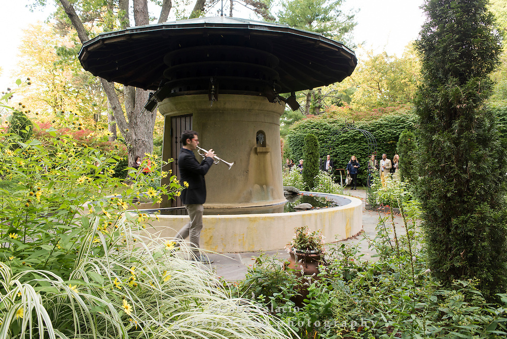 Members of The Knights perform with sound art pieces in the Garden of Sonic Delights at Caramoor in Katonah New York on September 20, 2014. <br /> (photo by Gabe Palacio)